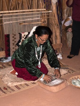 demonstrated: Life in a Navajo Hogan demonstrated to tourists in Monument Valley Arizona USA