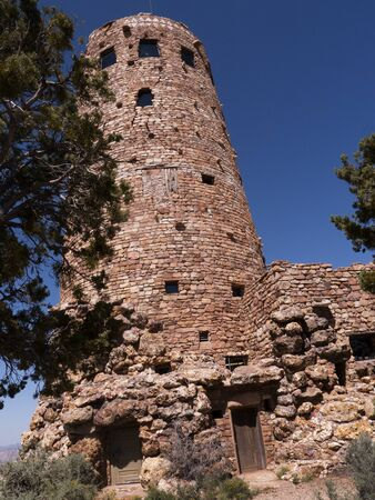mesas: Navajo Watchtower on the South Rim of the Grand Canyon in Arizona USA