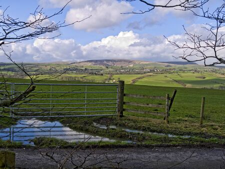 burnley: Pendle Hill viewed from Burnley in Lancashire England