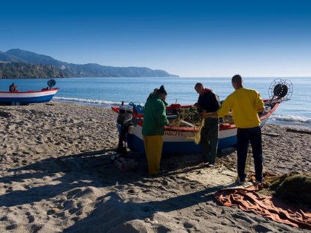 nerja: Beach scene in Nerja in Andalucia Spain