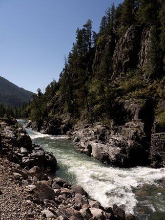 narrow gauge: The Narrow Gauge Railway from Durango to Silverton that runs through the Rocky Mountains by the River Animas In Colorado USA Stock Photo