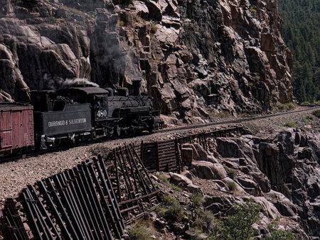 narrow gauge: The Narrow Gauge Railway from Durango to Silverton that runs through the Rocky Mountains by the River Animas In Colorado USA Editorial