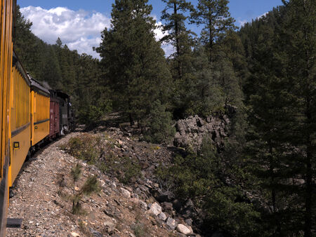 narrow gauge railway: The Narrow Gauge Railway from Durango to Silverton that runs through the Rocky Mountains by the River Animas In Colorado USA Editorial
