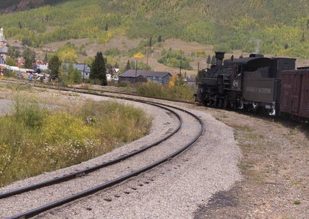 narrow gauge railway: The Narrow Gauge Railway from Durango to Silverton that runs through the Rocky Mountains In Colorado USA