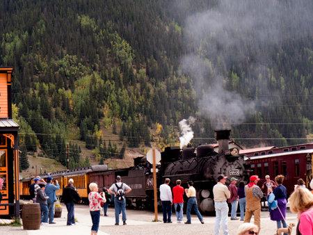 main street: Train on Main Street in Silverton Colorado USA
