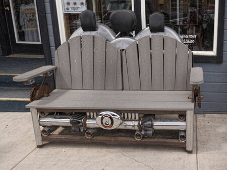 silverton: Seat made of old motorbike parts in Silverton Colorado USA Editorial