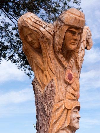 fe: Wooden Statue in Santa Fe New Mexico USA Editorial