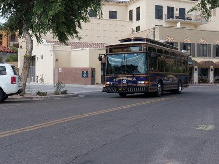 scottsdale: Free Trolley Bus in Street in Scottsdale Arizona USA