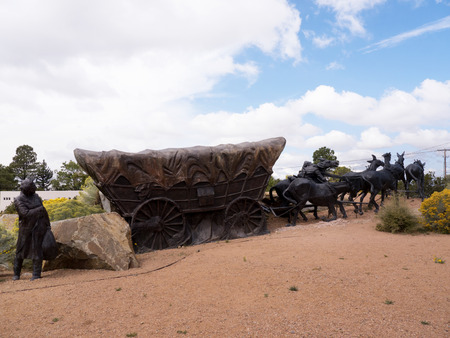 Huge Bronze Statue of Wagon Train Marking the end of the Santa Fe Trail  to West USA