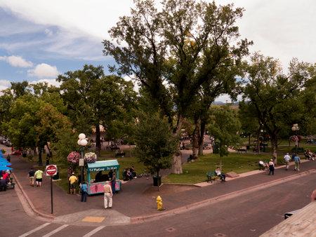 fe: The Town Square in Santa Fe New Mexico USA Editorial