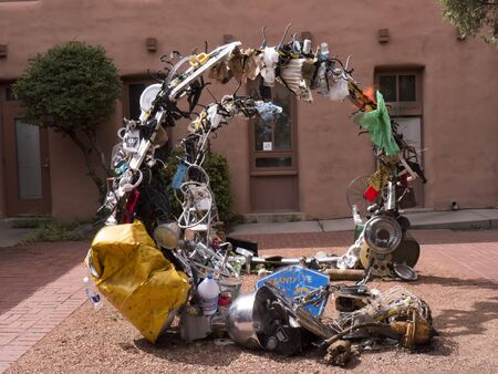 sante: Sculpture made of junk in Sante Fe New Mexico USA Editorial