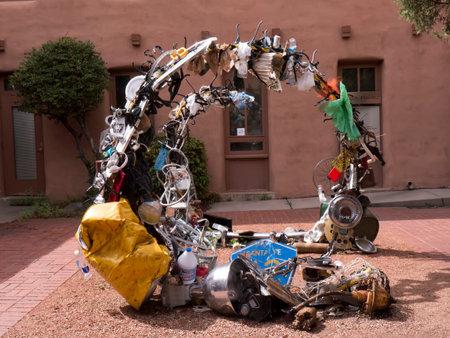 sante: Sculpture made of junk in Sante Fe New Mexico USA Editorial