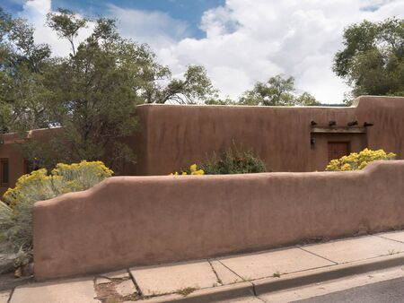 pioneers: Typical adobe architecture in Santa Fe New Mexico USA Editorial