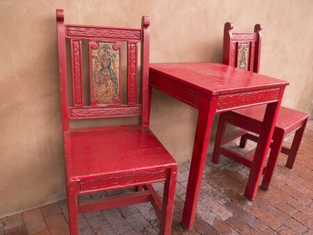 Painted Cafe Furniture In Albuquerque New Mexico USA Stock Photo   36952525