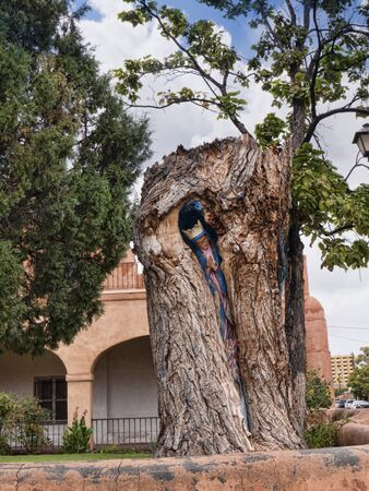 Tree with Madonna inside in the grounds of the Church of San Felipe de Neri 新聞圖片
