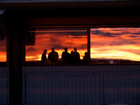 Reflections of the Sunset at the top of Sandia Peak Albuquerque New Mexico Editorial