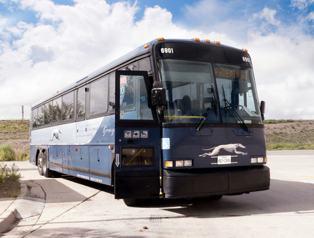 Greyhound Bus at a Desert Stop in Arizona USA Stock Photo - 36940072