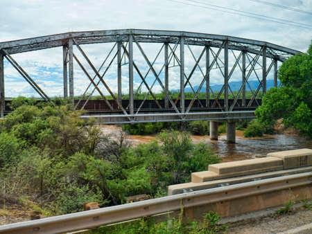 san pedro: Bridge over the San Pedro River in Flood in New Mexico USA