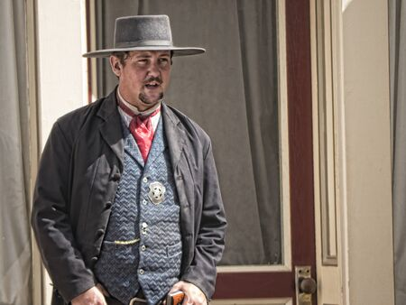 shootout: Tombstone in Arizona where the Gunfight at the OK Corral was fought in the USA. It is called the Town too tough to die. Re-enactors play their parts Editorial