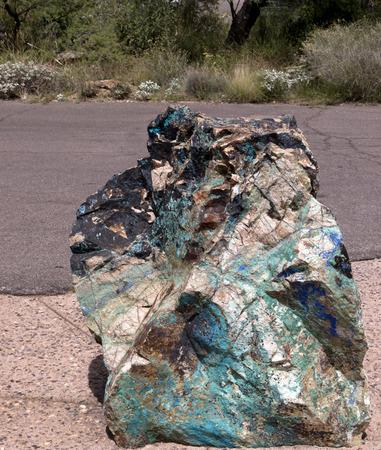 Large chuck of Turquoise Bearing Rock  Фото со стока