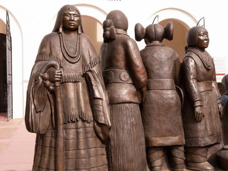 Sculpture of the women and their dresses of the Native American Tribes in the Phoenix Museum in Arizona USA Editorial