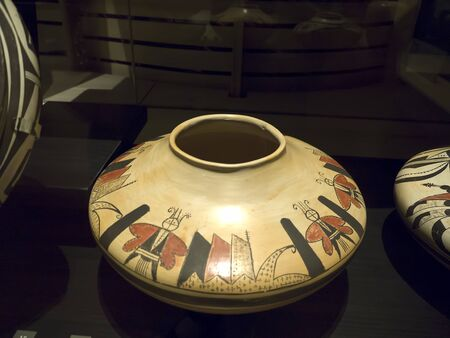 display figure: Native American Pottery in the Phoenix Museum In Arizona USA