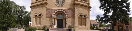 Panorama of th Cathedral of St Francis of Assisi in Santa Fe New Mexico USA Stock Photo