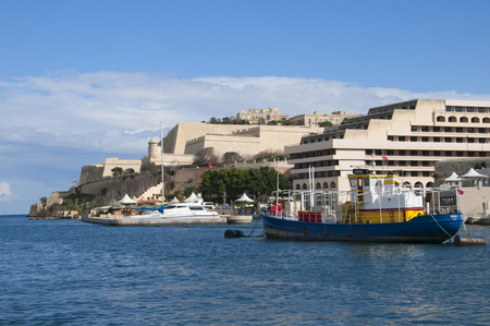 fortifications: Hotel on the Fortifications around the Grand Harbour in Valletta on the island of Malta