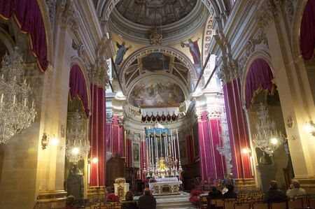 mediterranean interior: Gozo Cathedral dedicated to the  Assumption of the Blessed Virgin Mary Editorial