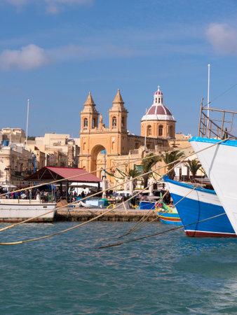 fishingboat: Church at Marsaxlokk on the island of Malta Editorial