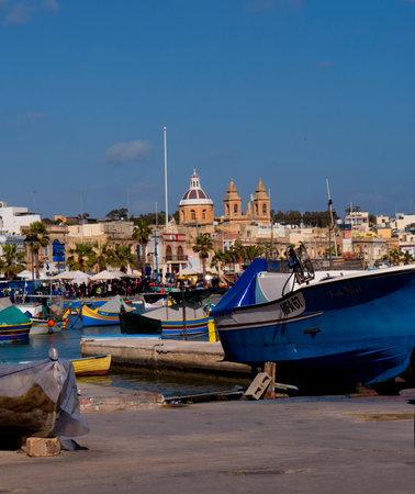 slipway: Marsaxlokk Harbour on the island of Malta