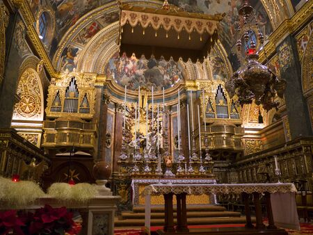 opulent: The interior of St Johns Co-Cathedral in Valletta on the island of Malta Editorial