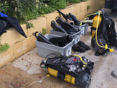 diving equipment: Diving Equipment at the Marina in Sliema in Malta