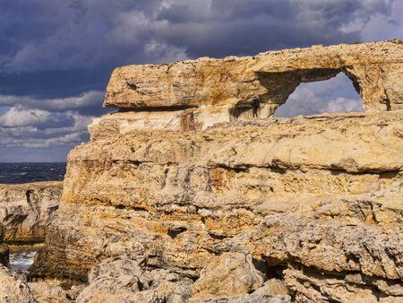 azure: The Azure Window on the Maltese Island of Gozo Stock Photo