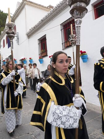 processions: The Easter Processions in the Andalucian White Village of Mijas in Southern Spain