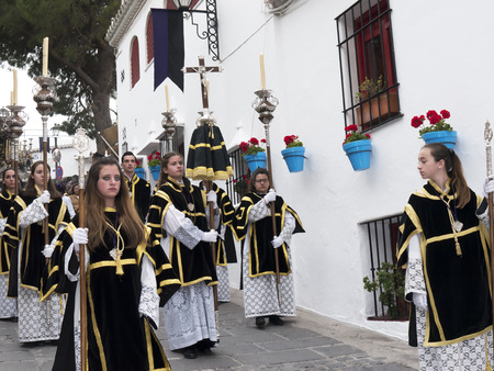 Easter processions in Mijas one of the most beautiful white villages of the Southern Spain