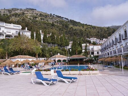 Swimming pool in Mijas one of the most beautiful white villages of the Southern Spain area called Andalucia. It is in the Alpujarra mountains above the coast