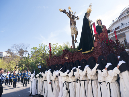 Easter Processions in Mijas one of the most beautiful white villages of Andalucia. It is in the Alpujarra mountains above the coast Editorial