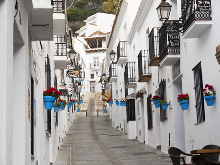 Street of San Sebastian in Mijas one of the most beautiful white villages of Andalucia. It is in the Alpujarra mountains above the coast