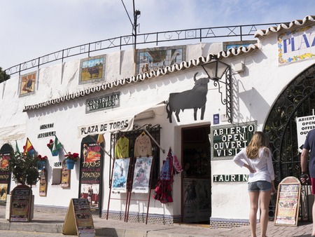 house donkey: Bullring in Mijas one of the most beautiful white villages of Andalucia. It is in the Alpujarra mountains above the coast
