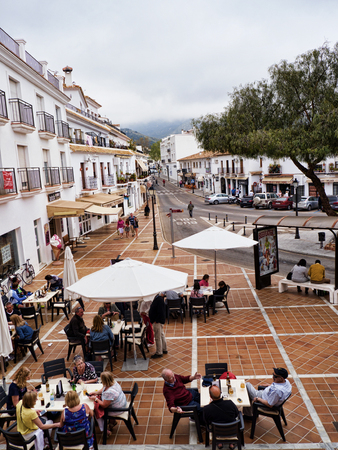 Mijas one of the most beautiful white villages of Andalucia. It is in the Alpujarra mountains above the coast Editorial