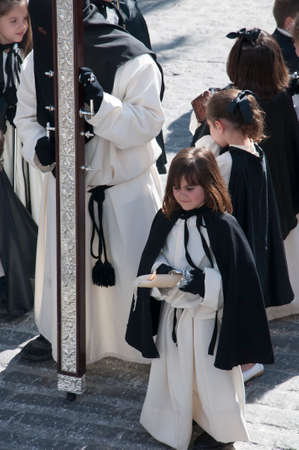 house donkey: Easter processions in Mijas one of the most beautiful white villages of Andalucia. It is in the Alpujarra mountains above the coast