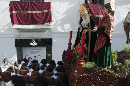 Easter procession in Mijas one of the most beautiful white villages of Andalucia. It is in the Alpujarra mountains above the coast