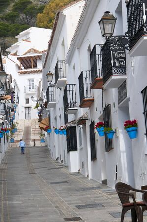 house donkey: Street of San Sebastian in Mijas one of the most beautiful white villages of Andalucia. It is in the Alpujarra mountains above the coast