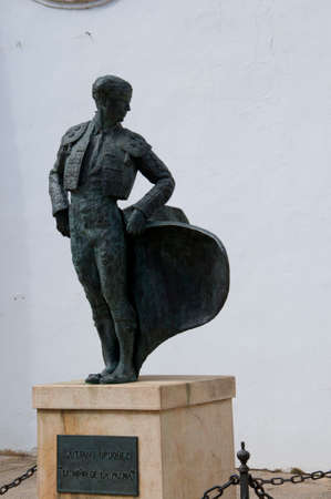 sited: Matador Statue at Bullring in Ronda a mountain village in Andalucia sited high above a Gorge in the Mountains above the Costa del Sol in Spain