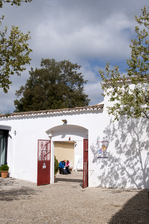sited: Bullring in Ronda a mountain village in Andalucia sited high above a Gorge in the Mountains above the Costa del Sol in Spain