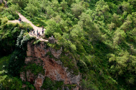 sited: Gorge in Ronda a mountain village in Andalucia sited high above a Gorge in the Mountains above the Costa del Sol in Spain