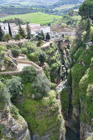 sited: Ronda a mountain village in Andalucia sited high above a Gorge in the Mountains above the Costa del Sol in Spain Editorial