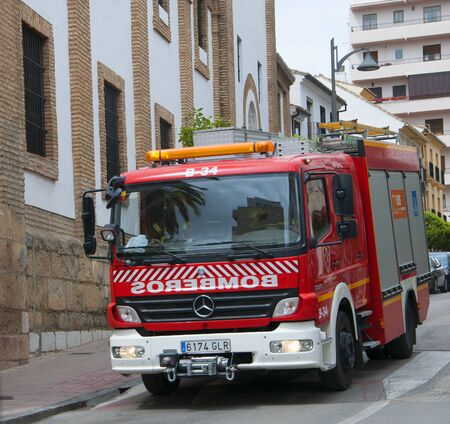 sited: Fire Truck in Ronda a mountain village in Andalucia sited high above a Gorge in the Mountains above the Costa del Sol in Spain