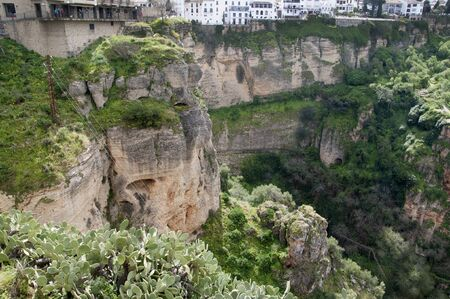 sited: Park in Ronda a mountain village in Andalucia sited high above a Gorge in the Mountains above the Costa del Sol in Spain Stock Photo